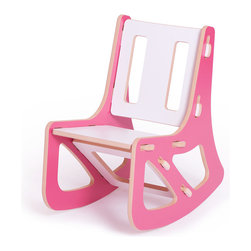 Quark Enterprises - Kids Rocker, Pink and White - This contemporary rocking chair looks like the perfect place for a kid to relax. It would be a stylish addition to your playroom, and it's a breeze to put together without any tools required.