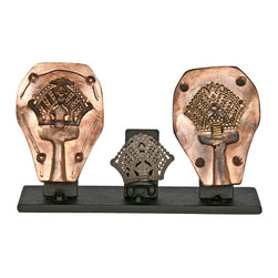 Salvatecture Studio - Vintage Metal Alloy Jewelry Mold on Stand #3 - Is your style a bit bohemian? Then this vintage accessory is right up your alley. The pair of antique heavy metal jewelry molds features an attractive design and comes with a sample product. This is one decorative piece that will make everyone take note.