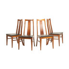 United - Consigned Mid Century Modern Walnut Sculpted Back Dining Chairs by United - • Mid Century | Danish Modern