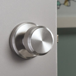 Schlage Greyson Style Privacy Bowery Knob in Satin Nickel - The Bowery and Greyson lines  feature transitional styling with a sleek, graceful form; perfect for classic and sophisticated living spaces.