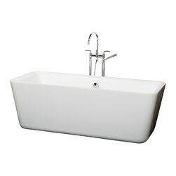 "Wyndham Collection - Wyndham Collection 69"" Emily White Soaking Bathtub w/ Chrome Drain - The Emily Soaking Tub combines bold minimalist symmetry and soft contoured edges that beg to be touched. Run your fingers over the gentle curves as you slip into this deep, warm bath and enjoy the tranquility you so deserve. Built to last and always warm to the touch, the Verona Bathtubs are a perfect place to melt away tension and stress, leaving you refreshed, recharged and renewed."