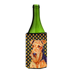 Caroline's Treasures - Airedale Candy Corn Halloween Portrait Wine Bottle Koozie Hugger - Airedale Candy Corn Halloween Portrait Wine Bottle Koozie Hugger Fits 750 ml. wine or other beverage bottles. Fits 24 oz. cans or pint bottles. Great collapsible koozie for large cans of beer, Energy Drinks or large Iced Tea beverages. Great to keep track of your beverage and add a bit of flair to a gathering. Wash the hugger in your washing machine. Design will not come off.