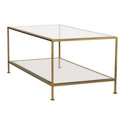 Worlds Away Taylor Hammered Metal Rectangular Gold Leaf Coffee Table - Worlds Away Taylor Hammered Metal Rectangular Gold Leaf Coffee Table