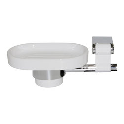 Manillons - Iris Wall Soap Holder. Polished Chrome-White - Iris Collection. This wall soap holder is ideal for a gift. Has a Simple design which is part of a wide Collection of bathroom accessories designed and manufactured in Spain. Made in brass polished chrome highly reflective with white ceramic soap dish and white aluminum. Very simple and unique giving an amazing look to your bathroom. Beautifully coordinates with other Macral Design items such as, a robe hook, towel rail, toothpaste & toothbrush holder, which are available to be purchased any time online in our houzz profile stock items. Designed and manufactured in Spain