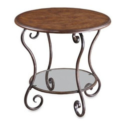Uttermost - Uttermost Felicienne Accent Table - Curving legs and a warm, chestnut brown burl veneer give this accent table an elegant style. The distressed, hand forged metal base boasts deep wood tones.