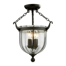 Three Light Bronze Clear Glass Foyer Hall Semi-Flush Mount - This Three Light Foyer Hall Semi-Flush Mount is part of the Warwick Collection and has a Bronze Finish and Clear Glass.  It is Dry Rated.