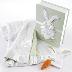 Baby Aspen - Baby Aspen Bunnies in the Garden 3 Piece Blanket Gift Set with Optional Personal - Shop for Blankets from Hayneedle.com! What are two of the cutest things on earth? Babies and bunnies. Now you can give the gift of adorableness with Baby Aspen's Bunnies in the Garden 3 Piece Blanket Gift Set with Optional Personalization. This perfect first gift set includes an incredibly plush white blanket trimmed in satin and accented in pale green white cap adorned with fuzzy bunny ears and velveteen carrot rattle. Wrapped up in a pale green and white gift box with the bunny blanket peeking out from its rabbit-shaped cutout a puffy little bunny tail and an delightful poem about Bailey Bunny your gift is sure to be a hit with both mom and little one from box to blanket.Gift Basket Includes:1 baby blanket 1 bunny ear cap 1 carrot rattleAbout Baby AspenGifts from Baby Aspen are designed and created with quality as their top priority. Rest assured that all Baby Aspen baby gifts are safe and lead-free. The company has a rigid testing process in place for lead content in every baby gift they manufacture. Baby Aspen's mission is always has been and always will be to keep our little end users safe secure and happy.