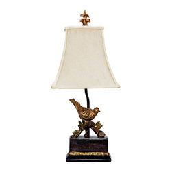 Dimond Lighting - Perching Robin Gold Leaf and Black Table Lamp - This traditional lamp features a robin perching on a branch with a luxurious gold leaf and black finish. The classic gold leaf and black theme of the Perching Robin table lamp presents an elegant choice for any decor. This lamp by Dimond has beautiful lines from the arc of the branch the bird is perched upon to the slight curve of the stem topped with a cream shantung shade. Gold leaf detailing on the base and striking gold leaf finial complete the look.