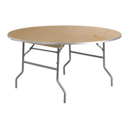 Flash Furniture - Flash Furniture Round Birchwood Folding Banquet Table in Silver - Flash Furniture - Folding Tables - XA60BIRCHMGG - This is as good as it gets! This heavy duty 60'' Round Folding Table has a .75'' thick plywood top and features an extremely durable Birchwood hardwood surface with thick aluminum metal edging. Built like a tank this folding table is certain to withstand the test of time. Two extra-wide bolted wood runners are fastened to the underside and designed to allow for safe table stacking. The runners are secured to the table tops with flush fitting flat head bolts and locking nuts. The Heavy Duty locking Wishbone legs are constructed of 1'' 15 gauge tubular steel and commercial grade powder coating.