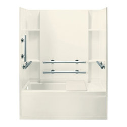 Sterling - Sterling Accord 71150115 60W x 74H in. ADA Bathtub Shower Combo with Grab Bars a - Shop for Tubs from Hayneedle.com! Functionality and fashion come together beautifully with the Sterling Accord 71150115 60W x 74H in. ADA Bathtub Shower Combo with Grab Bars and Right Side Seat. This ADA-adaptable unit includes a comfortable shower seat that mounts directly to the back wall and rests on the apron plus it comes with grab bars. These stainless steel grab bars at strategic positions horizontally and vertically on the back and end walls. It's an ideal bath for the elderly or handicapped but it achieves a high level of safety without sacrificing any of its style! The high apron tile wall pattern and molded in shelving make it a very attractive addition to any decor and it will serve you and your family well for years to come! Sterling has a reputation for high-quality construction and like all of their other bathroom products this unit is built from solid Vikrell. The compression-molded Vikrell is a Sterling exclusive that provides strength durability and a lasting beauty that you can customize with your own choice of finish. Kohler almond Kohler biscuit and pure white are all available with a coating of high-gloss that creates a smooth shiny surface which looks marvelous and is incredibly easy to clean. Lastly this CSA-certified bathtub and shower combo measures 60W x 32D x 74H inches and utilizes a modular 4-piece design with hassle free pivot snap together installation. Choose from either the left-hand or right-hand drainage hole model depending on your home's unique setup.Product Specifications:Overall Height: 74 inchesOverall Width: 60 inchesOverall Depth: 32 inchesHeight (Back Panel): 74 inchesWidth (Back Panel): 60 inchesThickness (Back Panel): 1 inchHeight (Side Panel): 74 inchesWidth (Side Panel): 32 inchesThickness (Side Panel): 1 inchBase Shape: Oval in rectangleInstallation Type: AlcoveNumber of Thresholds 1Drain Placement: Left or rightAbout Sterlin