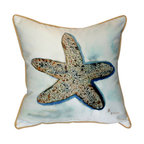 Betsy Drake - Betsy Drake Starfish Pillow- Indoor/Outdoor - Starfish Pillow- Large indoor/outdoor pillow. These versatile pillows are equal at enhancing your homes seaside decor and adding coastal charm to an outdoor setting arrangment. They feature printed outdoor, fade resistant fabric for years of wear and enjoyment. Solid back, polyfill. Proudly made in the USA.