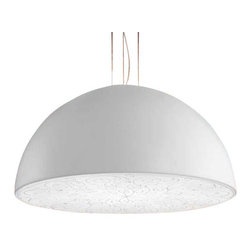 """Masiero - Masiero Deco Cupola S3 Pendant Light - The Deco Cupola S3 Pendant Light is part of a collection of High End light fixtures designed by Cambi, Scatena and Turini in Italy for Masiero. This lamp with its noble character catches and sublimates the zeitgeist in a timeless sign which is intimately classic. Deco Cupola S3 lamp is an elegant light fixture consisting of a frame in laquered aluminium with its base hanging from the ceiling and colored in opaque white, jet black, purple red or silver leaf. Its diffuser is a white painted plate in polycarbonate material decorated with a special pattern. This is a stylish and contemporary suspension lamp that will certainly meet any indoor needs and will create a great light ambiance quality. Illumination is provided by TR5 2GX13 40W Fluorescent bulb (not included).      Product Details:  The Deco Cupola S3 Pendant Light is part of a collection of High End light fixtures designed by Cambi, Scatena and Turini in Italy for Masiero. This lamp with its noble character catches and sublimates the zeitgeist in a timeless sign which is intimately classic. Deco Cupola S3 lamp is an elegant light fixture consisting of a frame in laquered aluminium with its base hanging from the ceiling and colored in opaque white, jet black, purple red or silver leaf. Its diffuser is a white painted plate in polycarbonate material decorated with a special pattern. This is a stylish and contemporary suspension lamp that will certainly meet any indoor needs and will create a great light ambiance quality. Illumination is provided by TR5 2GX13 40W Fluorescent bulb (not included).  Details:     Manufacturer: Masiero   Designer: Cambi, Scatena and Turini   Made in: Italy   Dimensions:  Height: 15.7""""(40cm) X Diameter: 35.4""""(90cm)     Light bulb:  TR5 2GX13, 3x40W Fluorescent bulb (not included)     Material: Aluminium, Polycarbonate"""