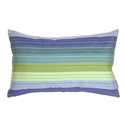 Pillow Decor - Pillow Decor - Sunbrella Seville Seaside Outdoor Pillow - Enhance your outdoor space with this striped Seville Seaside fabric by Sunbrella. The popular and versatile rectangular shape works well on a chaise or to add lumbar support to your favourite chair. Perfect touch of softness for your reading chair on the porch. Choose from the collection of square and rectangular striped and solid pillows to create an interesting mix.