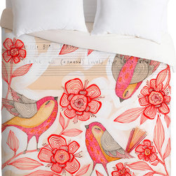DENY Designs - DENY Designs Cori Dantini Sprinkling Sound Duvet Cover - All together now. Forty winks look fabulous with the Cori Dantini Sprinkling Sound Duvet Cover from DENY Designs. With a trio of songbirds and blooms, this artist-designed piece was custom-created using a six-color printing technique that directly dyes the buttery-soft woven front. A cozy cotton-blend on the backside was created for cuddling. Talk about beauty rest!Pillowcases not includedAvailable in multiple sizesZip closureInterior corner tiesCustom printed for every orderWoven polyester front / cotton-polyester backMachine washableDesigned by Cori DantiniMade in the USAShips in 1 week