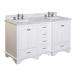 Kitchen Bath Collection - Nantucket 60-in Bath Vanity (Carrara/White) - This bathroom vanity set by Kitchen Bath Collection includes a white cabinet with soft close drawers, Carrara marble countertop, double undermount ceramic sinks, pop-up drains, and P-traps. Order now and we will include the pictured three-hole faucets and a matching backsplash as a free gift! All vanities come fully assembled by the manufacturer, with countertop & sink pre-installed.