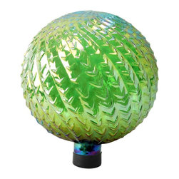Alpine Fountains - 10 in. Glass Gazing Globe in Green - Made of decorative textured glass.. 1 Year Limited Warranty. Assembly Required. Overall Dimensions: 10 in. L x 10 in. W x 11 in. H (1.58 lbs)Liven up your outdoors with our amazing gazing globe collection for an enchanting and colorful display. Use them as an accent to your patio or move them out in to the garden to create a perfect centerpiece for your favorite outdoor setting.