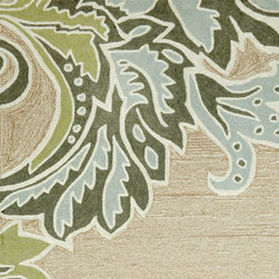 Trans-ocean - ornamental leaf border rug (aqua) 8'3'' x 11'6'' - Soft under foot, these luxurious outdoor rugs are hand-looped and hand-cut in a similar fashion to fine indoor oriental rugs. UV-stabilized synthetic yarns minimize fading and naturally repel mildew and insects.