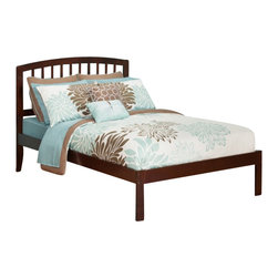 Atlantic Furniture - Atlantic Furniture Richmond Bed with Open Foot Rail in Antique Walnut-Twin Size - Atlantic Furniture - Beds - AR8821004