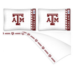 Sports Coverage - NCAA Texas AM Aggies Football Queen Bed Sheet Set - Features: