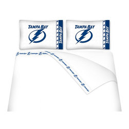 Sports Coverage - Sports Coverage NHL Tampa Bay Lightning Microfiber Hem Sheet Set - Twin - NHL Tampa Bay Lightning Microfiber Hem Sheet Set have an ultrafine peach weave that is softer and more comfortable than cotton. Its brushed silk-like embrace provides good insulation and warmth, yet is breathable.   The 100% polyester microfiber is wrinkle-resistant, washes beautifully, and dries quickly with never any shrinkage. The pillowcase has a white on white print beneath the officially licensed team name and logo printed in vibrant team colors, complimenting the new printed hems.    Features: -  Weight of fabric - 92GSM ,  - Soothing texture and 11 pocket,  -  100% Polyester,  - Machine wash in cold water with light colors,  - Use gentle cycle and no bleach ,  - Tumble-dry,  - Do not iron ,