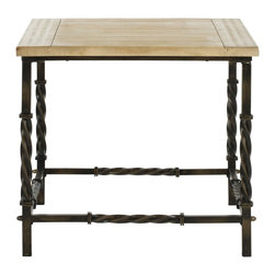 Safavieh - Tonya Side Table - The industrial charm of vintage railings is elegantly enhanced alongside the reclaimed look of the Tonya side table��_s fir wood top. Crafted to explore the beautiful juxtaposition of these natural and forged elements, it��_s a must- have for contemporary rustic-chic interiors.