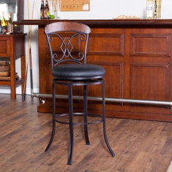 Hillsdale Diamond Suit 29 in. Swivel Bar Stool - Dark Coffee