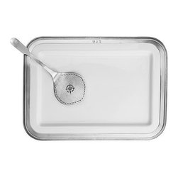 Match Pewter - Luisa Rectangular Platter by Match Pewter - In a world dominated by mass production, Match Pewter is handmade by artisans in northern Italy.  Its classic forms harmonize with both traditional and modern settings.  Each piece bears a stamped symbol from the region in which it was made.Large rectangular ceramic serving platter with pewter rim detail.