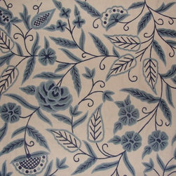 Crewel Fabric World by MDS - Crewel Fabric Blue Park Blues on Off White Cotton- Yardage - Fabric Type: Cotton