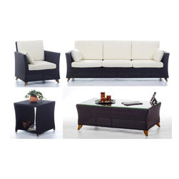 All Things Cedar - Rattan wicker 8 Ft. Sofa Patio Set with White cushion - Our deep seating furniture offers plenty of room for entertaining or just a weekend of relaxing :  SET INCLUDES: SOFA ( 92 x 33 x 34 ) : ARM CHAIR ( 33 x 33 x 34 ) : COFFEE TABLE (47 x 24 x 16)  : SIDE TABLE ( 20 x 20 x 20 ) Item is made to order.