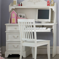 None - Liberty 'Arielle' Antique White Student Desk and Hutch - The Arielle Collection captures the grace and charm of a treasured antique. Romantic touches such as rose and ribbon overlays, serpentine shaped tops and ribbon twist moldings, and antique hardware define this 2-piece student set.