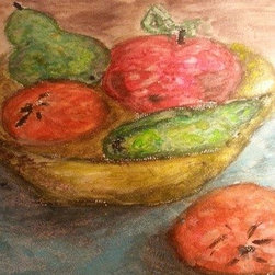 Fruit Basket (Original) by Cynthia Jackson - Water Color  & Charcoal Painting Perfect for your Kitchen and Dining area
