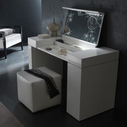 Nightfly White Bedroom Vanity Set - The bathroom vanity will definitely be lonely when you start getting pretty in front of the Nightfly White Bedroom Vanity Set. With a cool contemporary aura, this wood vanity has white wood veneers covered in a high-gloss, high-shine lacquer. The lift top is made of white eco-leather, a faux leather that's processed using all natural dyes and extracts. Lift the lid, and you'll find a mirror with a magnifying inset, two small compartments for compacts, jewelry, or perfume, plus a work surface covered in the same alligator-patterned eco-leather.And that's not all. To the side, there's a double-tiered, slide-out cabinet that provides the perfect storage for bottles of lotion or hairspray. Add the optional eco-leather stool, and you have a bright white vanity that just might make your bathroom counter green with envy. The stool measures 17W x 17D x 17H inches and can be used as extra seating anywhere in your home, when not serving you at the vanity. The vanity and stool coordinate perfectly with other pieces in Rossetto USA's Nightfly White collection, sold separately.About Rossetto USARossetto USA is the U.S. division of the Arros Group, a leading manufacturer that exports Italian furniture style and design all over the world. Operating out of its warehouse in High Point, N.C., since 1999, Rossetto provides complete contemporary and modern dining, bedroom, and occasional furniture programs that combine affordable price with innovative Italian design to satisfy the demands of their distinguished customers.