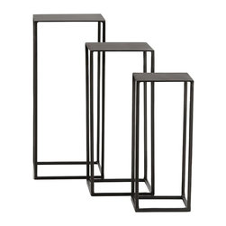 Arteriors - Arteriors Homer Pedestals-Set of 3 - These natural iron pedestals provide a sleek plateau to showcase your favorite things. Can be stacked or nested or used singularly.