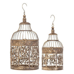 Benzara - Metal Bird Cage Bird Keeping with Decor Sense - Set of 2 - If you are one of those gardening enthusiasts who have passion for birds keeping also, 66017 METAL BIRD CAGE S/2 a set of two may be best choice for anytime home decor accent addition.