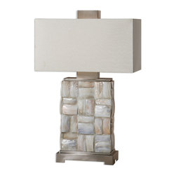 "Uttermost - Calaveras Mother Of Pearl Lamp - This is a bold and beautiful, ""Look at me"" lamp. And boy, will everyone look. The mother-of-pearl tiles and the brushed aluminum details and footing are striking when put together in one lamp. The off-white linen shade is the icing on the top."