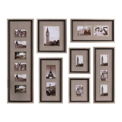 Uttermost Massena Photo Frame Collage, S/7 - Lightly antiqued silver leaf with a matte black liner and oatmeal linen matting. This collection of frames features a lightly antiqued silver leaf finish with a matte black liner. Photos are surrounded by oatmeal linen mats. May be hung horizontal or vertical. Holds photo sizes: 11-4x6,1-8x10,4-5x7