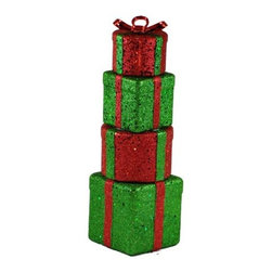 Christmas at Winterland - Christmas at Winterland WL-4PK-GIFTS 4 Stackable Gift Boxes - Christmas at Winterland WL-4PK-GIFTS 4 Stackable Gift BoxesAdd some panache to your holiday display with these set of four shimmering gift boxes. Use each 12 inch tall box individually or stacked together. These would look great under a tree, fireplace, mantle, or desk.Christmas at Winterland WL-4PK-GIFTS Features: