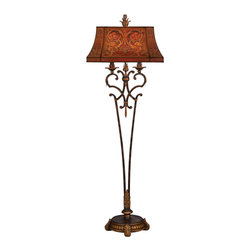 Fine Art Lamps - Brighton Pavillion Floor Lamp, 305520ST - With its handmade floriated shade, amber crystal and bronze sienna finish, this floor lamp exudes warmth. Wherever you choose to place it — beside a favorite chair or to define a cozy nook — you'll revel in the gracious glow.