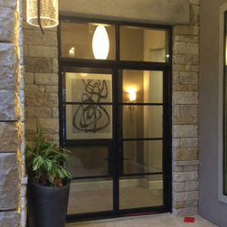 Modern Iron Door with Square Transom - Modern Design, Double Wrought Iron Doors with Square Top, handcrafted and perfectly welded details.