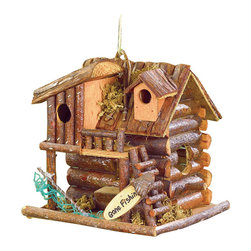 """Koolekoo - Gone Fishing Birdhouse - Cute little cabin awaits its residents return, after a day of """"goin fishin."""""""