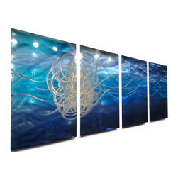 Miles Shay - Metal Art Wall Art Decor Abstract Contemporary Modern Sculpture- Torrent Blue - This Abstract Metal Wall Art & Sculpture captures the interplay of the highlights and shadows and creates a new three dimensional sense of movement as your view it from different angles.