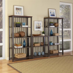 HomeStyles - 3 Piece Multi-Function Shelving Unit - Our Cabin Creek collection conveys a reclaimed wood vintage feel. Each piece is physically distressed by hand, providing a unique one of a kind look. The Cabin Creek Multi-Function Shelving Unit is constructed of hardwood solids and veneers in a heavily distressed multi-step chestnut finish featuring worm holes, fly specking, small indentations, and season splitting. This multifaceted storage unit will meet all your storage needs, and will complement any area in the home. bedroom, kitchen, office, living room, bathroom, garage, etc. Thirteen fixed shelves with a hammered metal look finished frame. Assembly required. 114 in. W x 16 in. D x 75.5 in. H