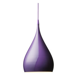 andTradition - BH1 Spinning Pendant Lamp, Purple - Put a new spin on lighting your room. This sleek pendant is made of spun aluminum then finished in your choice of several glossy colors. More than 17 inches high, hang two over your nightstands or multiples over a kitchen island.