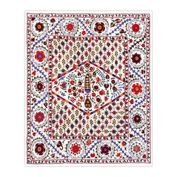 Handmade Modern Suzani L1201 - This new Suzani will spice up your interior decor whether you use it as a wall hanging or a table covering.