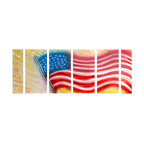 Pure Art - Old Glory Flag Wall Art Set of 6 - Display your deep love of your country and the American flag with this fabulous work of art. This six panel metal wall hanging group has brilliant coloring reaching from one lovely panel to the next. Grouping shows the beautiful American flag flowing in the winds against a background of sparkling skies. Each of the panels are hand painted on aluminum metalMade with top grade aluminum material and handcrafted with the use of special colors, it is a very appealing piece that sticks out with its genuine glow. Easy to hang and clean.