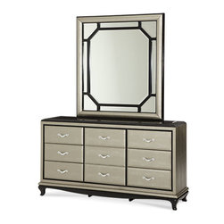 "Aico Furniture - AICO Furniture - After Eight Upholstered Dresser and Mirror in... - For any questions please call 800-970-5889.After Eight is designed in the ""Hollywood Regency"" style, born during the glamorous golden age of Tinseltown. Bold tonal contrasts and fun geometric shapes set the stage for a striking collection, full of personality. Not modern, not contemporary, not traditional in style; It's a design that blends the best of many styles into a uniquely customizable look prized even more highly today by Hollywood starlets, leading men, and interior designers. Express your own individuality and style by adding bold splashes of color or striking patterned accessories to create your own Hollywood movie set.�  Features: Set includes�Dresser and MirrorAfter Eight CollectionTitanium Finish6 Drawers + Jewelry Drawer1 Door with ShelfUpholsterd FabricSome Assembly Required  Dimensions:�Dresser: 36.75""H x 68""L x 19""DMirror: 68""L x 19""D x 36.75""H�"