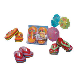 Deco Glow - Flip Flop Beach Candles With Six 2-piece candle Sets, Assorted - Assorted  sets  of  delightfully  fun  flip  flop  candles.  2-pieces  in  each  candle  set.  Six  sets  included  in  the  case.  Perfect  for  your  next  beach-themed  birthday  party  or  barbecue.  Decorative  flip  flops  feature  bright  colors.  You'll  want  to  host  an  ocean  party  just  so  you  can  show  off  these  candles.