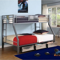 Powell Monster Bedroom Twin - Full Bunk Bed - Where ordinary youth bedroom furniture becomes extraordinary sleep, study and storage. Two beds in the space for one. This bunk includes a twin size upper bunk and full size bed underneath.