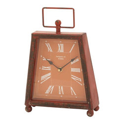 Benzara - Trendy Metal Clock with Unique Shade of Red Color - Bring home this metal clock and discipline your life. Not only will it help you in being on time for your daily chores, it will accentuate the look of your room too. This gorgeous metal clock is innovatively designed in a never-seen-before pattern and shape. It features a stylish trapezium model, with a wider base and narrow top. Finished in a unique shade of red color, it looks spot less clean with clear lines and fine detailing. The light orange dial with white colored roman numerals further adds charm to its grandeur. Standing on the four small legs, its better stability makes it convenient to place on your night table near your bed. The rectangular handle on the head looks highly attractive while providing comfortable hold to carry..