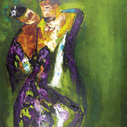"Scandinavian Art Factory - ""Dance 1""-Green   - Large Artwork - These two know it takes two to tango. This powerful painting depicts the intensely romantic connection that can form when a passionate duo hits the dance floor. You can see it (and almost feel it) in his seductive gaze."